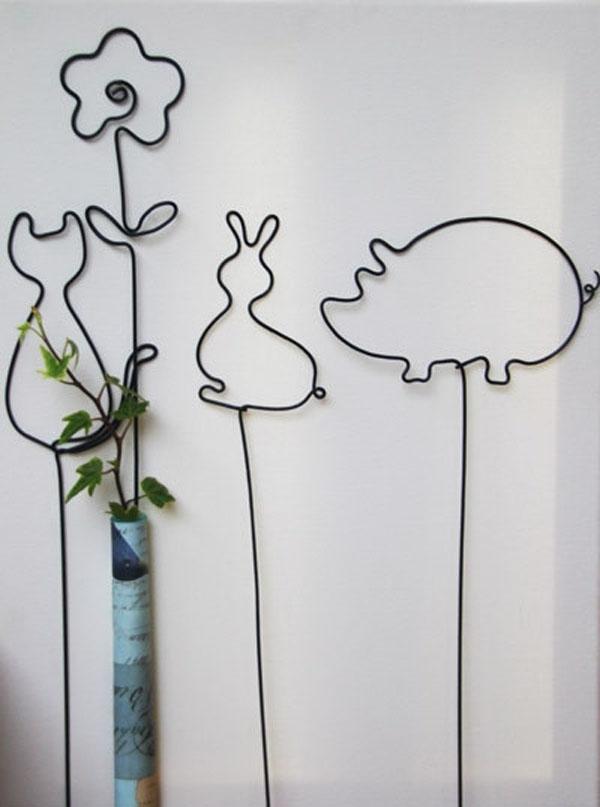 卡通小动物 防锈铁丝线花插 打造杂货花园